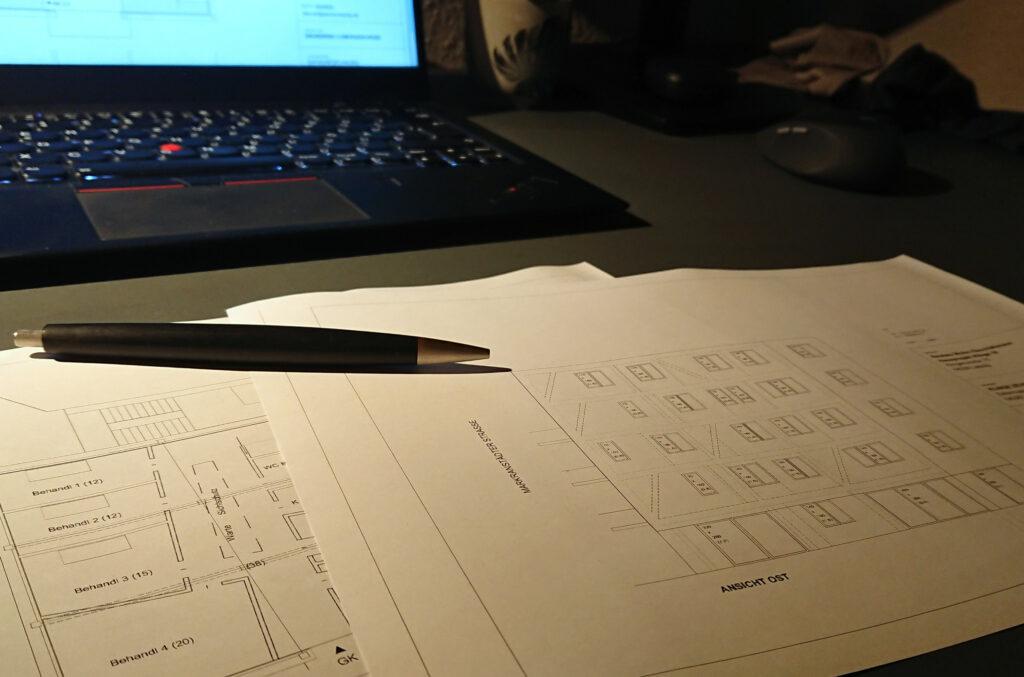 Arbeit an den Grundrissen und der Fassade