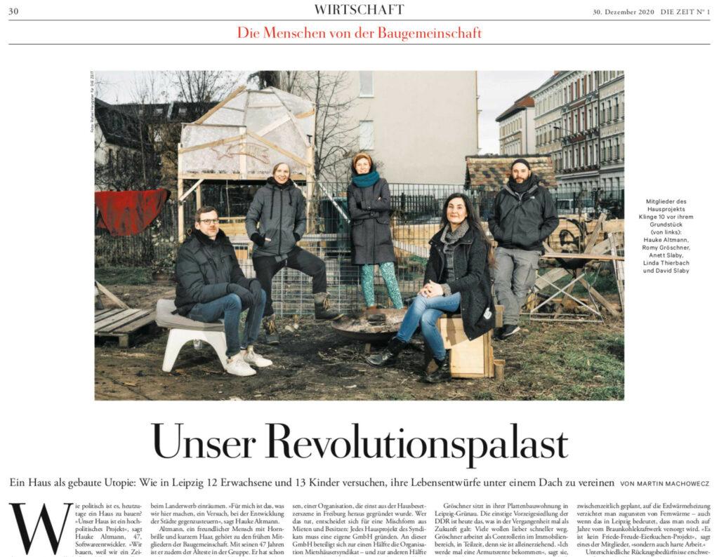 """Artikel-Ausschnit aus der ZEIT 1/2021: """"Unser Revolutionspalast"""""""